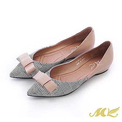 MK-手作真皮-復古千鳥格蝴蝶結尖頭平底鞋-粉色