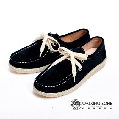 WALKING ZONE 麂皮休閒百搭 綁帶式 女鞋-黑