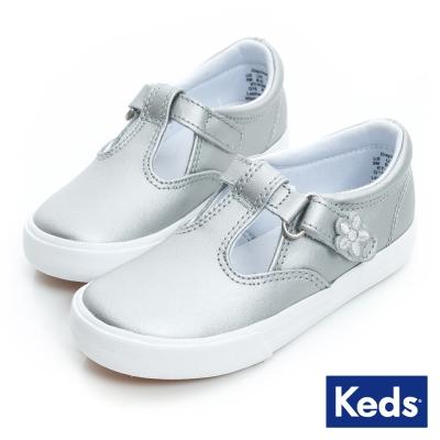 Keds 甜美小公主黏扣帶娃娃鞋(For Kids)-銀色