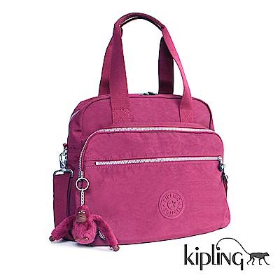 Kipling 斜背包 莓紫素面-大