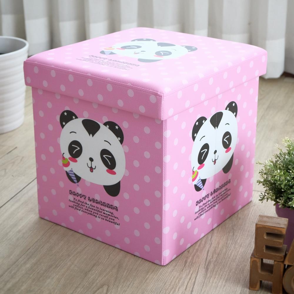 EASY HOME-耐重可摺疊收納椅凳-粉紅貓熊 (38x38x38cm)