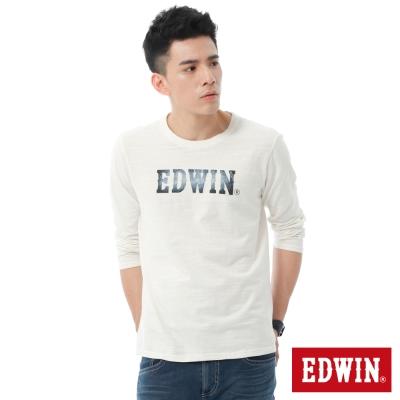 EDWIN-牛仔紋LOGO印花長袖T恤-男-米白