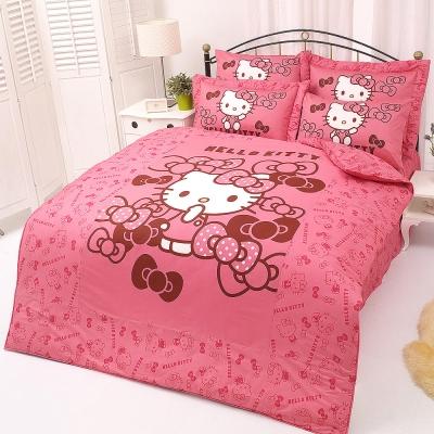 HELLO KITTY 我的小可愛系列-單人純棉三件式床包薄被套組(粉)