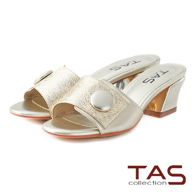 TAS 金屬風大圓單扣一字涼拖鞋-華麗金