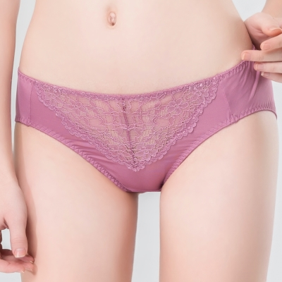 思薇爾 唯美花影系列M-XXL蕾絲中腰三角內褲(粉薰衣草紫)