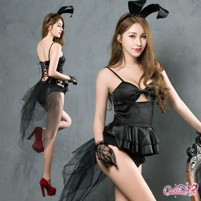 兔女郎 神祕黑色系兔女郎四件式角色扮演服(黑F) Caelia