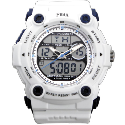 FEMA 強悍時尚 計時鬧鈴 雙顯運動錶(P367)-白/48mm