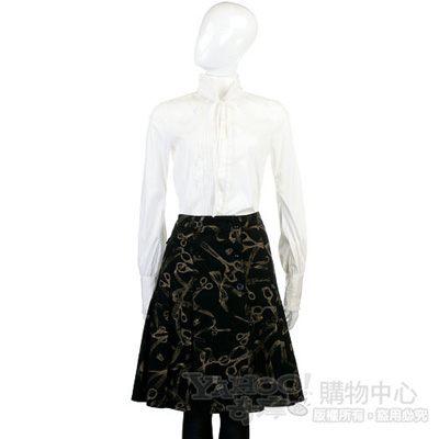 MOSCHINO 黑色剪刀圖騰印花圓裙