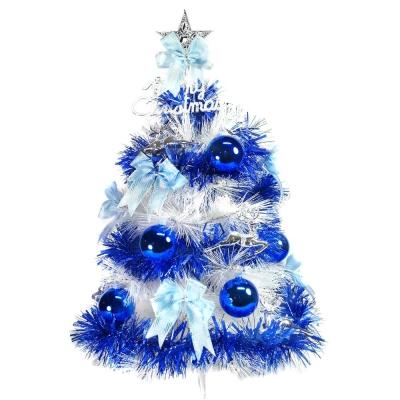 台製 2 尺( 60 cm)特級白色松針葉聖誕樹(藍銀色系配件)(不含燈)