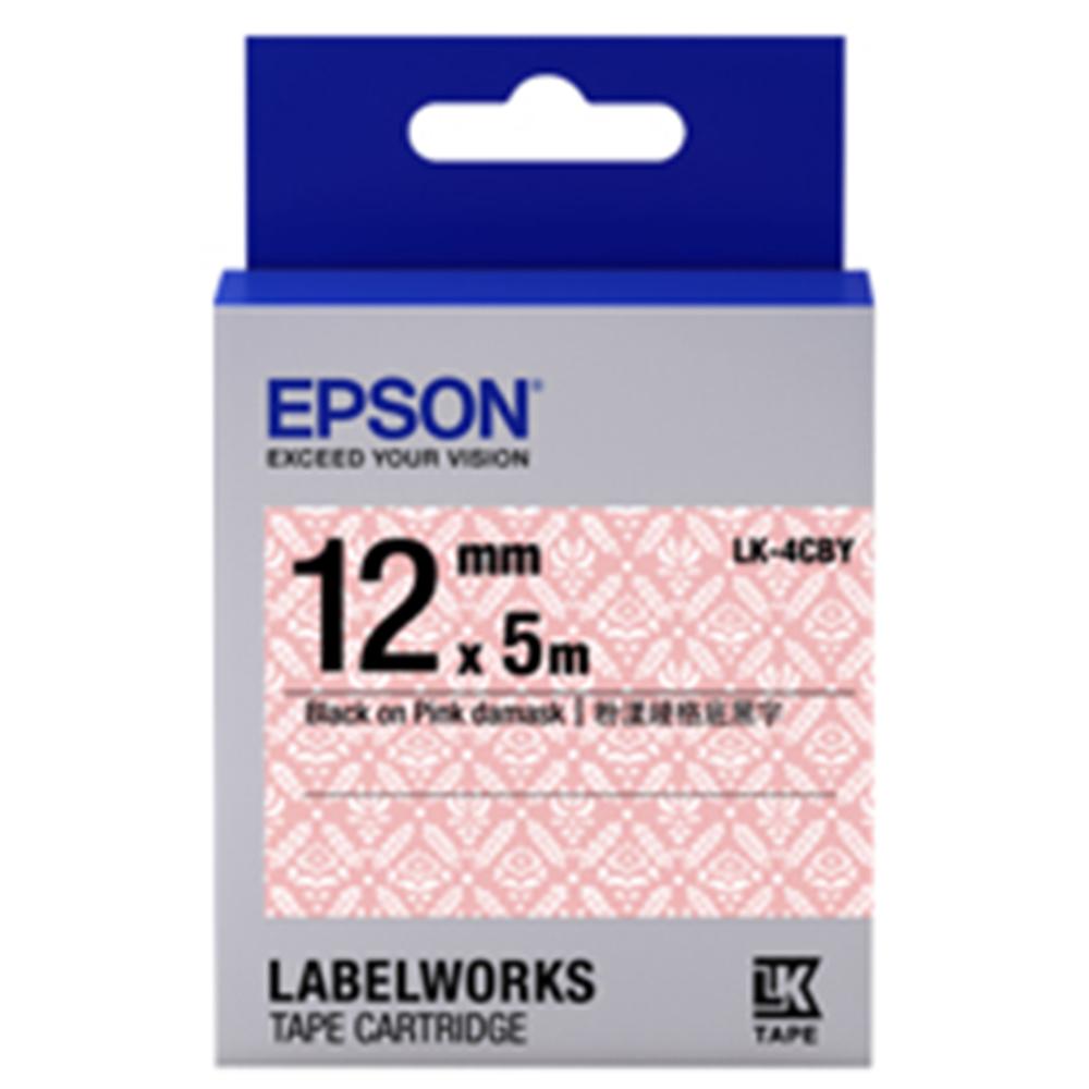 EPSON C53S654462 LK-4CBY 粉漾綾格底黑字標籤帶(寬12mm)