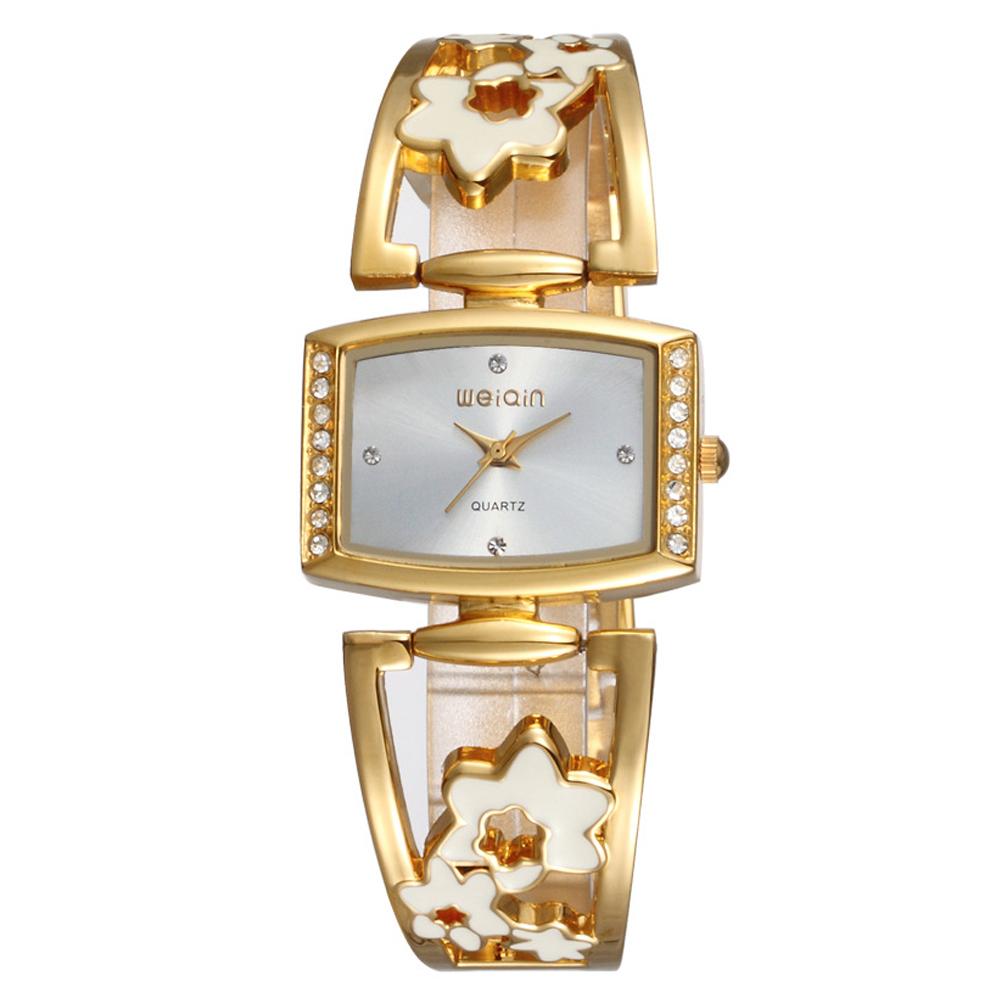 Mirabelle鏤空花漾方型點鑽金屬弧形錶金繽白面30mm