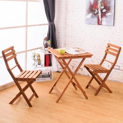 Bernice-德克實木休閒摺疊桌椅組(1桌2椅)