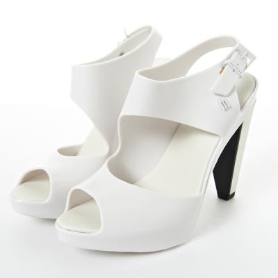 MELISSA-時尚結構高跟鞋-白