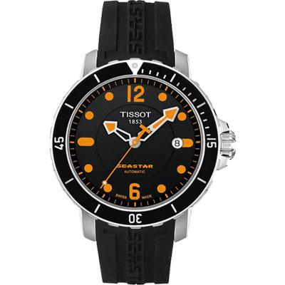 TISSOT Seastar 300米專業排氦潛水機械腕錶-黑x橡膠錶帶/42mm