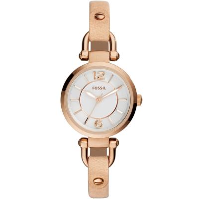 FOSSIL Georgia優雅時尚皮革腕錶-銀X卡其/26mm