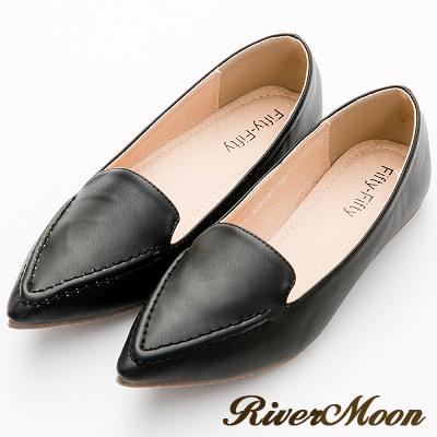 River&Moon尖頭鞋-極簡素面縫線樂福平底鞋-黑系