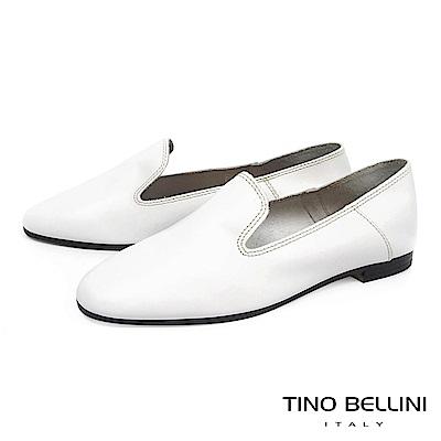 Tino Bellini 義大利進口簡約輪廓牛皮樂福鞋_ 白