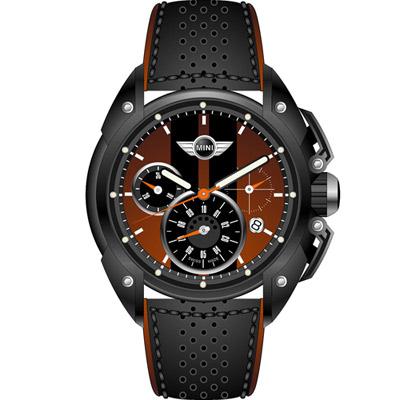 MINI Swiss Watches 極速時尚腕錶-黑x咖啡/45mm