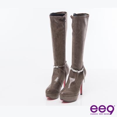 ee9率性風采~酷勁個性靚亮金屬水鑽防水台高跟長筒靴*可可