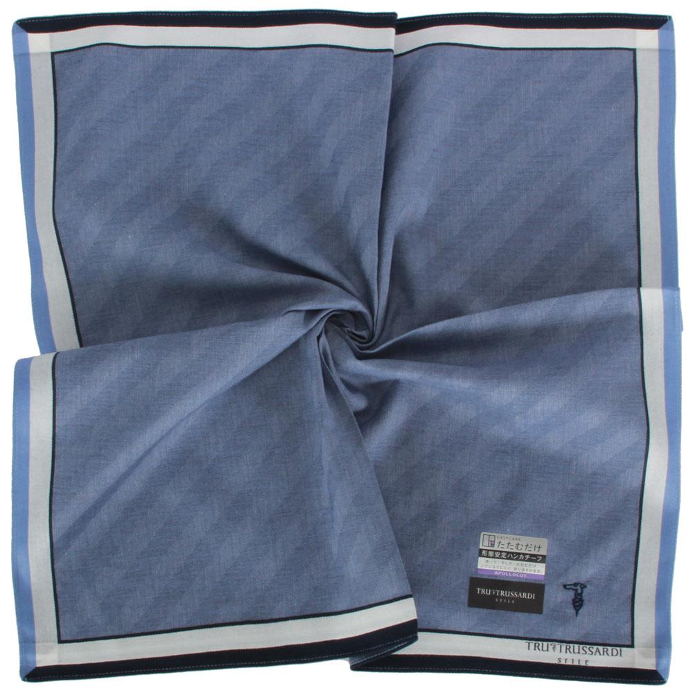 TRUSSARDI 經典獵狗刺繡斜紋純棉帕巾-藍
