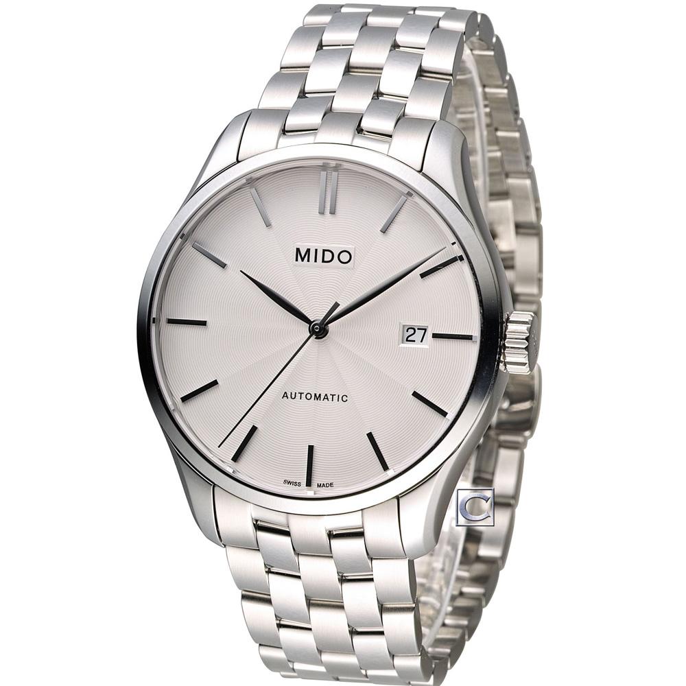 MIDO 美度 Belluna II 80小時動力儲存機械錶-銀/40mm