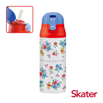 Skater不鏽鋼保溫吸管瓶(360ml)維尼Flower