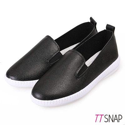 TTSNAP樂福鞋-韓國空運素面真皮平底休閒鞋-黑
