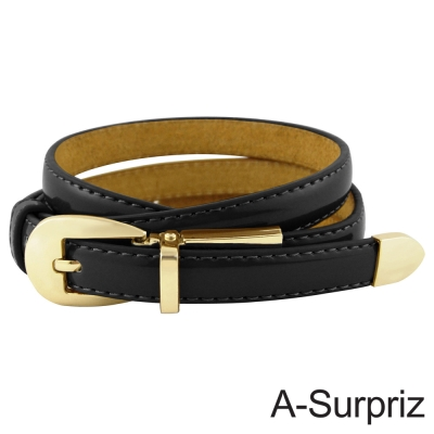 A-Surpriz 甜美氣質牛皮底細版腰帶(不敗黑)