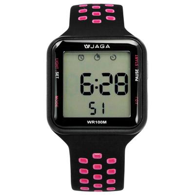 JAGA 捷卡 方型電子計時碼錶鬧鈴透氣矽膠手錶-黑粉色/38mm