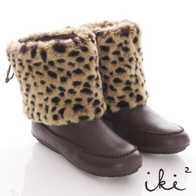 iki2-最高注目-2way豹紋皮草鉚丁真皮精靈靴-性感咖