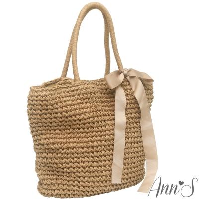 Ann'S氣質大緞帶束口草編包