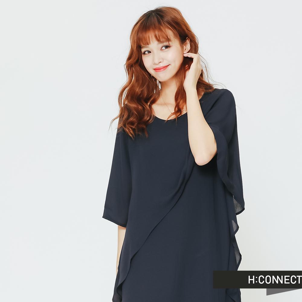 H:CONNECT 韓國品牌 女裝 - 不規則設計感洋裝-藍