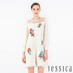 【JESSICA】氣質手工刺繡魚尾修身洋裝(白)