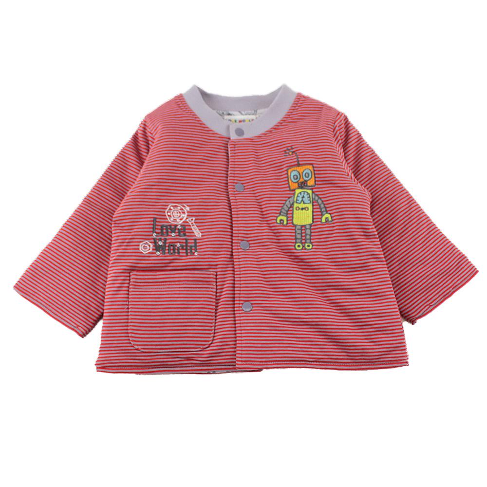 愛的世界 純棉機器人舖棉兩面穿長袖外套-紅/6M~3歲