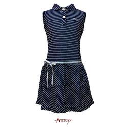 Annys優雅休閒條紋綁帶設計洋裝*0354藍