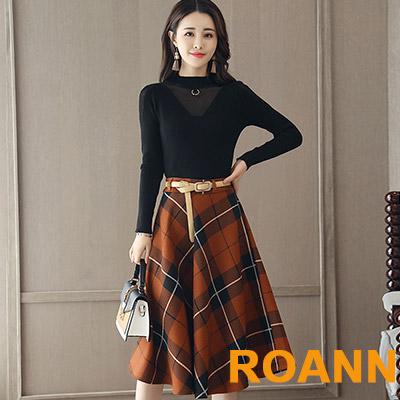 圓領透膚針織毛衣+格紋長裙 兩件套 (黑色)-ROANN