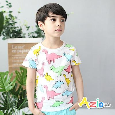 Azio Kids 童裝-上衣 多彩恐龍短袖竹節棉T恤(白)