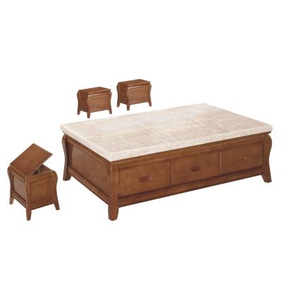 品家居 德歐5尺石面大茶几(含椅凳3入)-150x90x46cm免組
