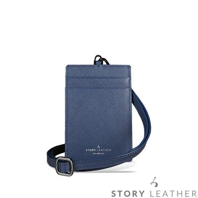 STORYLEATHER 牛皮證件夾 00469B-Y1 十字紋藍紫
