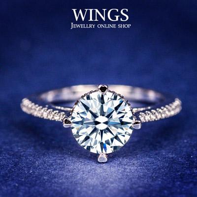 Wings 摯愛情真 頂級八心八箭方晶鋯石擬真鑽戒