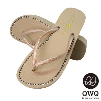 QWQ夾拖的創意(女) - 慛燦面鑽 3cm夾腳拖鞋 - 香檳米