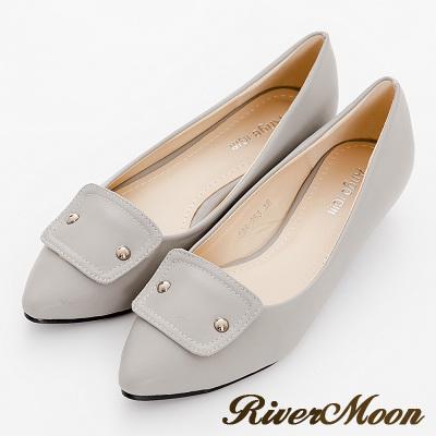 River-Moon尖頭鞋-法式風格金屬飾扣低跟鞋-灰系