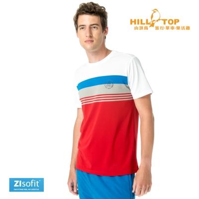 【hilltop山頂鳥】男款ZIsofit吸濕排汗彈性上衣S04MB5暗紅