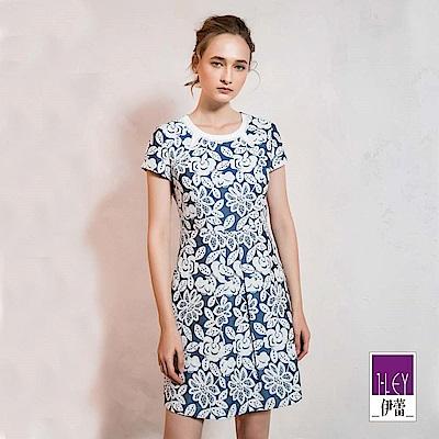 ILEY伊蕾 花朵刺繡配色小蓋袖洋裝(藍)