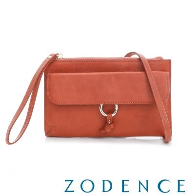 ZODENCE 義大利植鞣革系列皮夾側背小包 橘紅