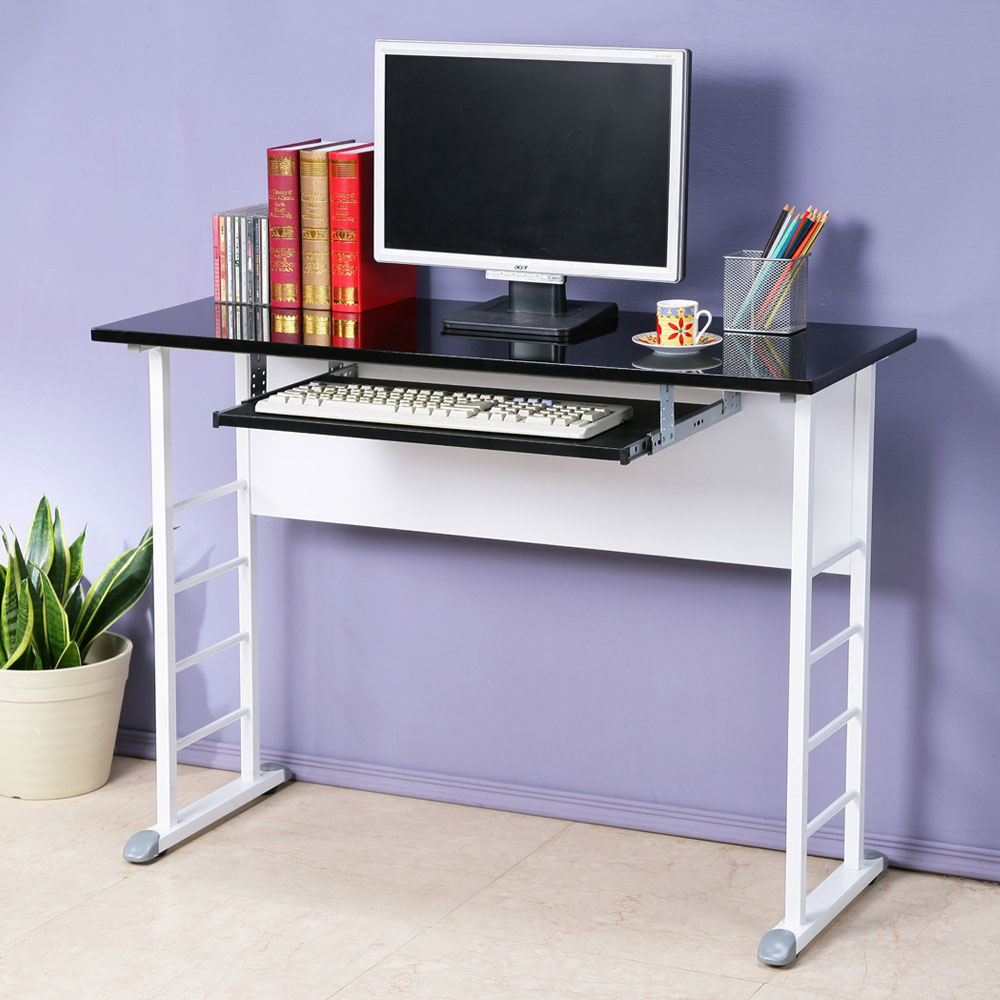 Homelike 查理100x40工作桌-亮面烤漆(附鍵盤架)