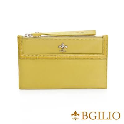 義大利BGilio-NAPPA軟牛皮俏麗拉鍊隨身萬用夾-綠色-1711.301-08