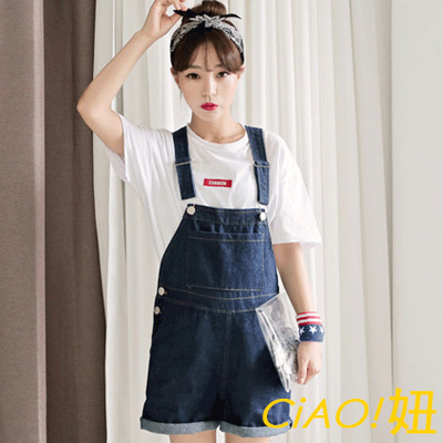 大口袋三釦邊吊帶短褲 (深藍色)-CIAO妞