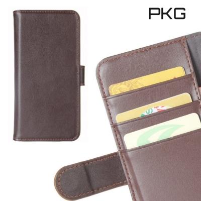 PKG HTC U11-Plus 側翻式皮套精緻皮革系列-真皮紋(棕)