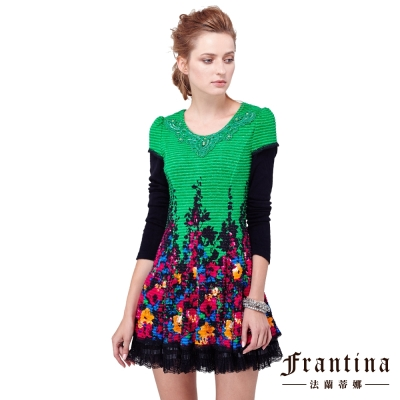 法蘭蒂娜-圓領蕾絲織花繽紛連身裙洋裝